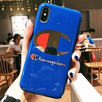 Champion Fashion New Letter Logo Print Women Men Phone Case Protective Cover Blue