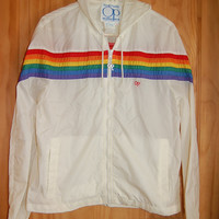 Vintage 70s 80s Op Ocean Pacific OP White Rainbow Striped Hooded Hoodie Windbreaker Rain Slicker Jacket Size Small