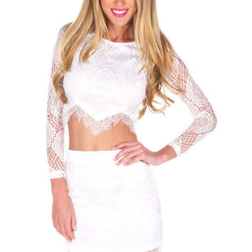 Hot Sale Luxury Long Sleeve White Lace Bottom & Top One Piece Dress [10239094995]