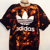 Unique acid wash old skool adidas tshirt festival grunge