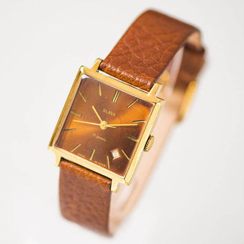 Square unisex watch, gold plated watch Glory, very rare face gent's watch Glory, boyfriend watch, brick red watch, premium leather strap new