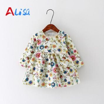Baby Girl Dress Cotton Infant Dress Floral Print European Style