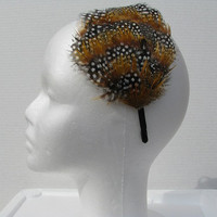 Feather Headband, Guinea and Golden Pheasant Feather Headband, Fascinator Headband