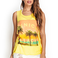 FOREVER 21 Venice Beach Muscle Tee Neon Yellow/Multi