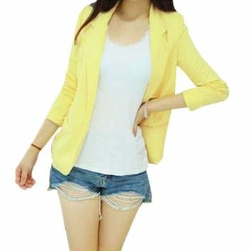 Korean Womenthree Quarter Sleeve Slim Suit Blazer Coat Lapel Shrug Outerwear Quality