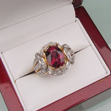 Rhodolite Garnet Anniversary Ring in 14k Yellow Gold and Diamond Halo Setting January Birthstone Gemstone