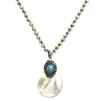 Stainless Steel 04.232.0006.31 Fancy Necklace, Teardrop Design, with Dark Brown Crystal and Blue Topaz Opal, Polished Finish, Steel Tone