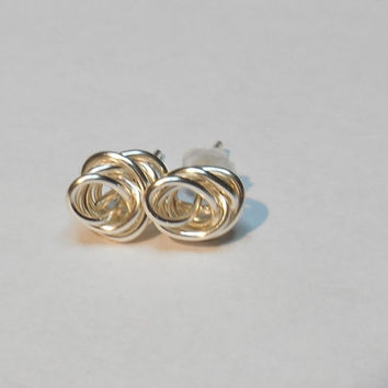 Love Knot Rose Silver Plate Women's Stud Post Handmade Earrings Choose Wire Color
