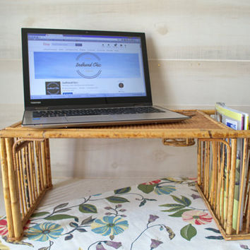 Rattan Bed Tray Table, Vintage Laptop Bed Table, Breakfast Tray with Legs, Bamboo Laptop Tray