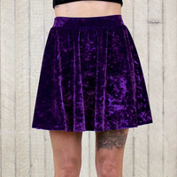 Crystal Ball Velvet Skater Skirt (made to order)