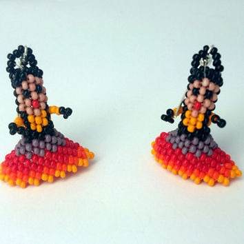 huichol earrings -  Earrings  Mexican Handmade beadwork jewelry  - unique gift
