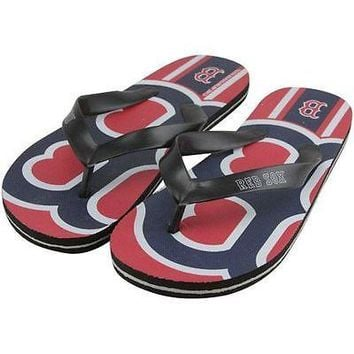 Boston Red Sox Unisex Big Logo Flip Flops Size Small