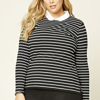 Plus Size Striped Collar Top