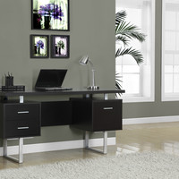 "Cappuccino Hollow-Core/Silver Metal 60""L Office Desk"