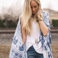 Elephant Charm Kimono Scarf - Three Bird Nest | Women's Boho Clothing & Indie Accessories