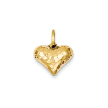 14k Gold Faceted Puffed Heart Pendant