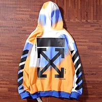 OFF-WHITE limited rendering tie-dyed men and women casual hooded pullover sweater