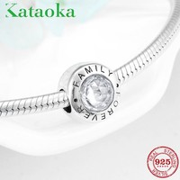 Women's Bracelet or Necklace Charms 925 Sterling Silver Beads Clear CZ Fit Original Pandora Bracelet Bangles