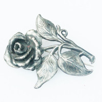 Antique Sculpted Silver Rose Brooch/ Pendent