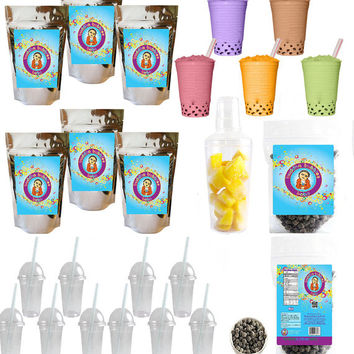 The Ultimate Diy Boba / Bubble Tea Kit Classic Flavors, 60+ Drinks, 6 Flavors, Boba Pearls, Cups, Straws and Shaker by Buddha Bubbles Boba