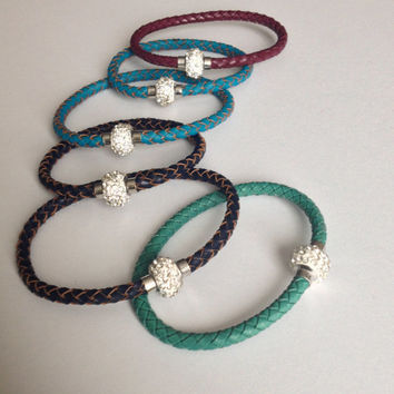 Braided Leather Bracelet with Crystal Magnet Clasp