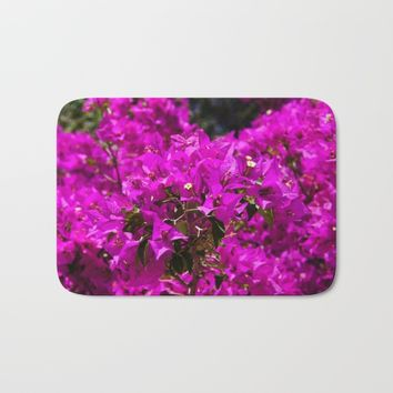 Purple Bougainvillea flowers Bath Mat by ARTPICS