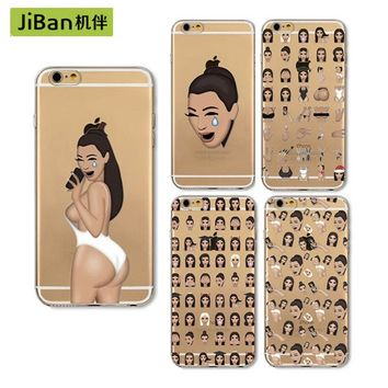 JiBan Funny Kim Kardashian Crying Face Emoji Case For iphone7plus 6 6s Plus 5s SE Kimoji Ultrathin Soft Clear Mobile Phone Shell