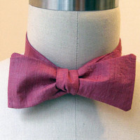 Bow tie - Berry Pink fair trade, hand woven, naturally dyed silk / adjustable / neck tie