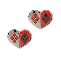 DC Comics Harley Quinn Heart Stud Earrings