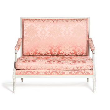18th century two-seated French antique sofa, wood-back molded, raised by tapered legs, fluted, by Pierre Brizard