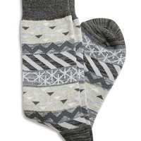 Lucky Brand Geo Pattern Sock Mens - Gray (One Size)