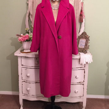 50s Long Cashmere Coat - 1950s Fuchsia Vintage Coat -  Retro Swing Coat - Winter Outerwear - Warm Heavy Coat - Large Collar - One Size