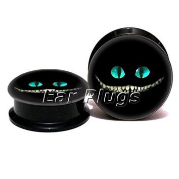 ac DCCKO2Q 1 pair cheshire cat face ear plug gauges black acrylic screw fit ear plug flesh tunnel body piercing jewelry PSP0773