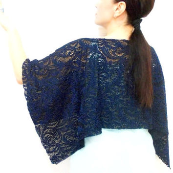 Lace Shawl, Lace Capelet, Scarf, Lace Bolero, Dark Blue, Prom dress, ON SALE, Free Shipping, Navy Blue, ultramarine, Costume Design, Wrap