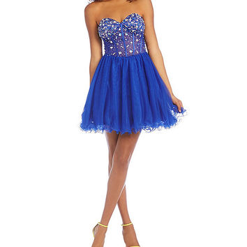 Blondie Nites Illusion Beaded Corset Dress | Dillards