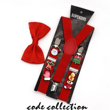 NWE 2.5cm Wide Random Christmas Acrylic Brooch Decoration Suspenders For Child Boy Girl 3 Clip Bow Tie Set Suspenders Gift