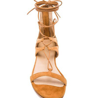 Brown Suede Lace Up Zip Back Flat Sandals