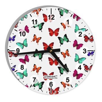 "Pretty Butterflies AOP 8"" Round Wall Clock with Numbers All Over Print"