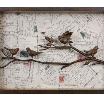 Bird Wall Art - 3-d Bird And Branch Accent Atop Postcard Assortment