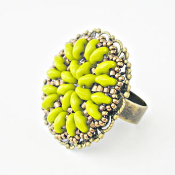 Beaded filigree ring adjustable brass vintage style lime green