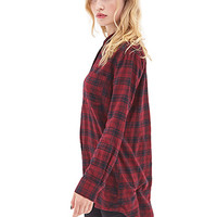 FOREVER 21 Plaid Flannel Shirt Dress Burgundy/Black