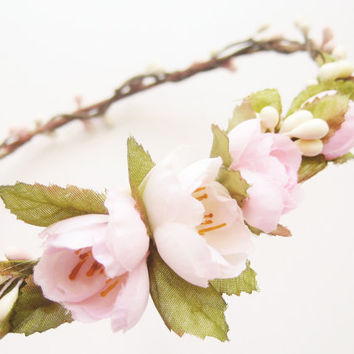 Flower Crown, Floral Crown, Bridal Headpiece, Ivory Pink Hair Accessories, Bohemian Headpiece, Pastel Crown, Rustic Wedding, Boho Hair