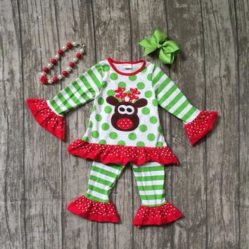 new fall/winter Christmas baby girls cotton striped reindeer mint red pants boutique ruffle children clothes match accessories