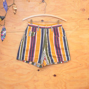 Vintage 80's Striped Blue, White & Yellow High Waist High Rise Killer Shorts  SZ Small 4