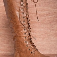 Natures Breeze Kick Start Lug-11hi Tall Burnished Lace Up Combat Boots - Tan