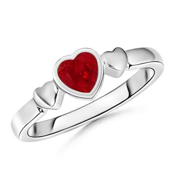 Bezel Heart Ruby Triple Heart Ring