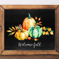 Welcome fall, autumn decor, printable, welcome fall sign, fall decoration, welcome fall print, home decor, autumn print, pumpkin decor