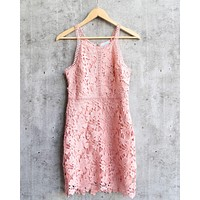 ashlyn - sleeveless lace bodycon dress - rose