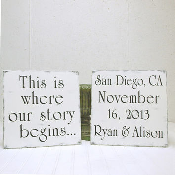 Personalized Wedding Signs, Engagement Photo Prop. Name, date. This is Where Our Story Begins
