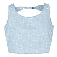 Blue Polka Dot Cut Out Back Denim Crop Top